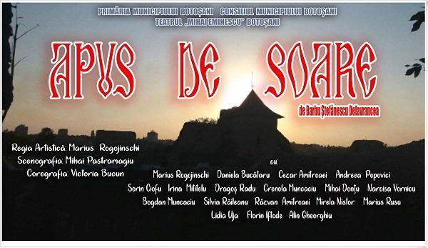 Teatrul Mihai Eminescu deschide stagiunea teatrală cu spectacolul Apus de soare