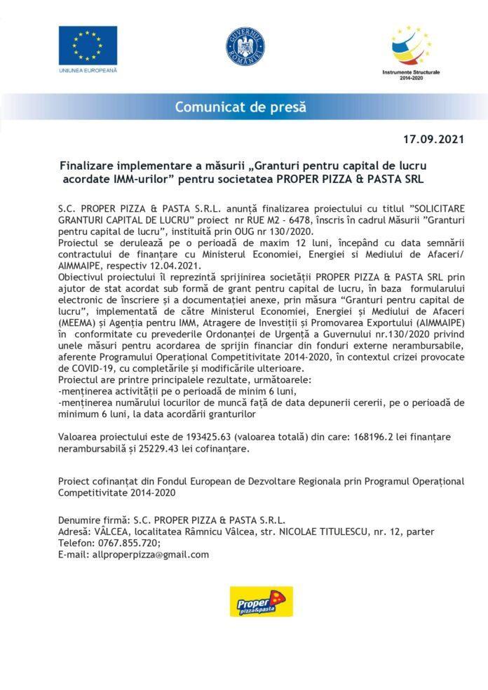 Finalizare implementare a măsurii Granturi pentru capital de lucru acordate IMMurilor pentru societatea PROPER PIZZA amp PASTA SRL