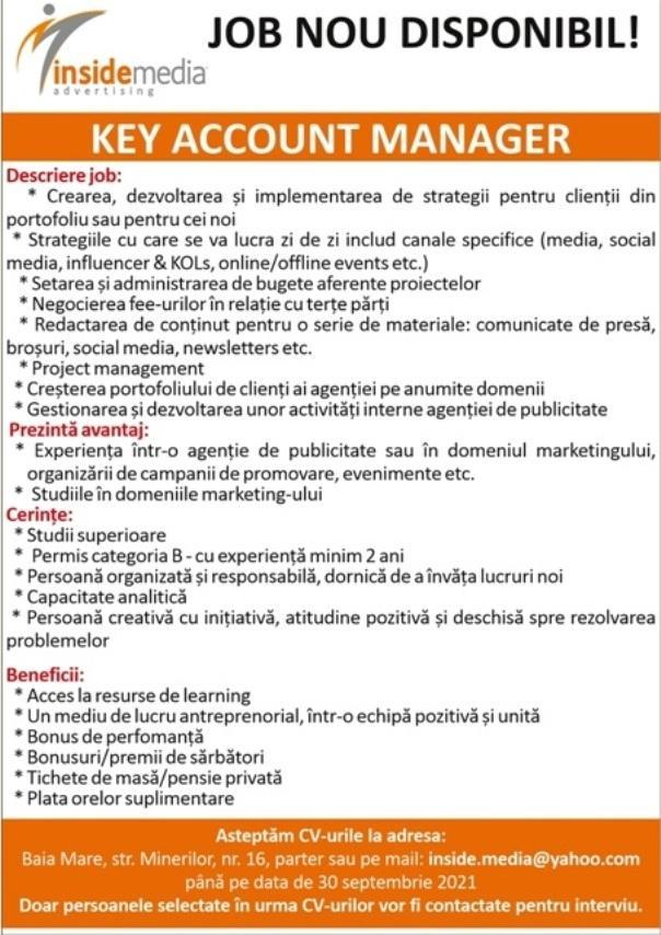 Anunț angajare  Căutăm coleg sau colegă pentru postul de KEY ACCOUNT MANAGER