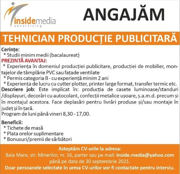 Agenția de publicitate Inside Media Baia Mare angajează personal în domeniul producției publicitare