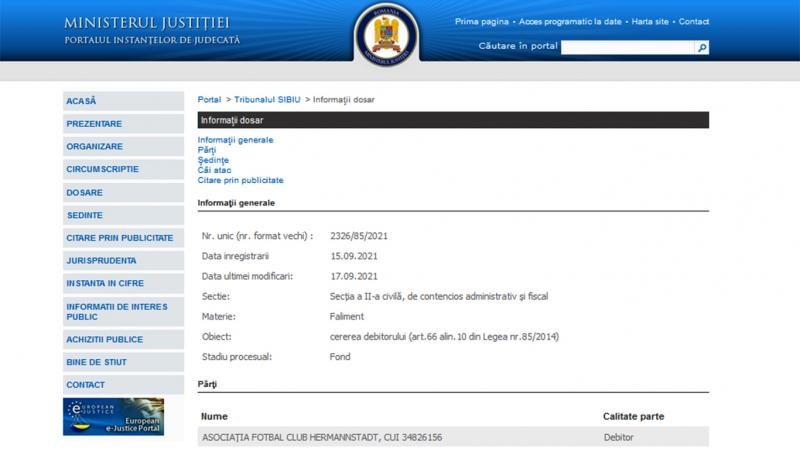 FC Hermannstadt a cerut Tribunalului Sibiu să i se declare insolvența Ce datorii are clubul sibian