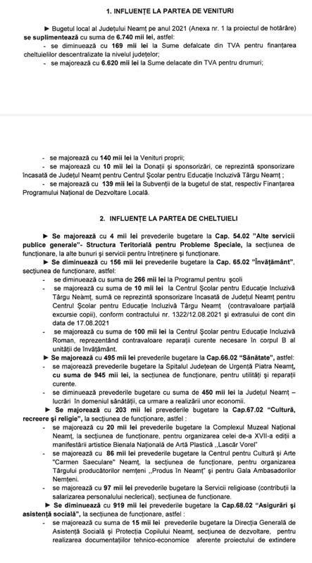 Ședință extraordinară a Consiliului Județean Neamț altă rectificare de buget