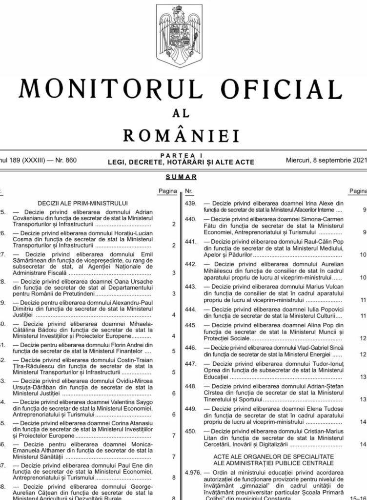Florin Cîţu taien carne vie a dat afara secretarii de stat USR PLUS urmeaza prefectii si subprefectii