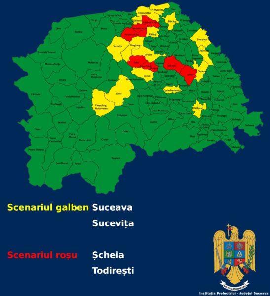 Șcheia și Todirești intră în SCENARIUL ROȘU
