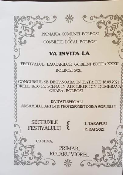 Joi sunteți invitați la Festivalul Lăutarilor Gorjeni de la Ohaba Bolboși